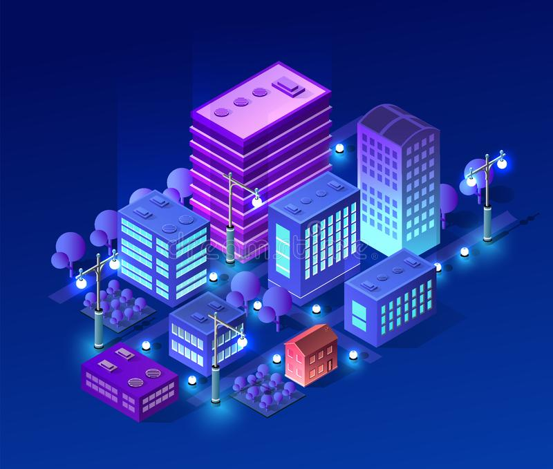 Isometric ultra city concept. Of violet style, an ultraviolet 3d modern design of urban street of a skyscraper, street lamps and building road town. Vector vector illustration