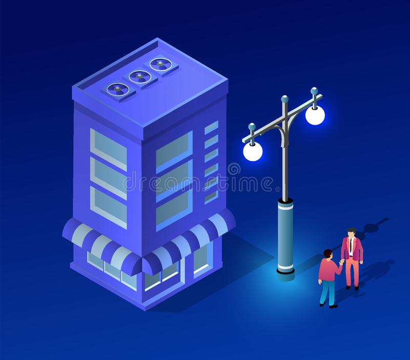 Isometric ultra city concept. Of violet style, an ultraviolet 3d modern design of urban street of a skyscraper, street lamps and building road town. Vector stock illustration