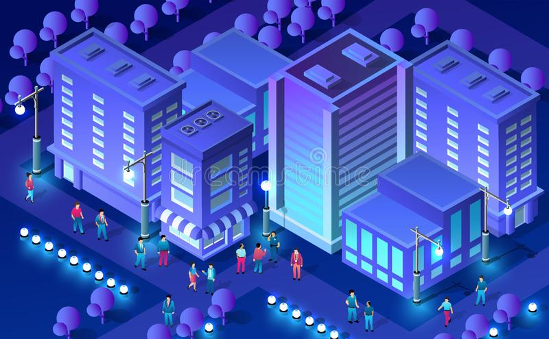 Isometric ultra city concept. Of violet style, an ultraviolet 3d modern design of urban street of a skyscraper, street lamps and building road town. Vector royalty free illustration