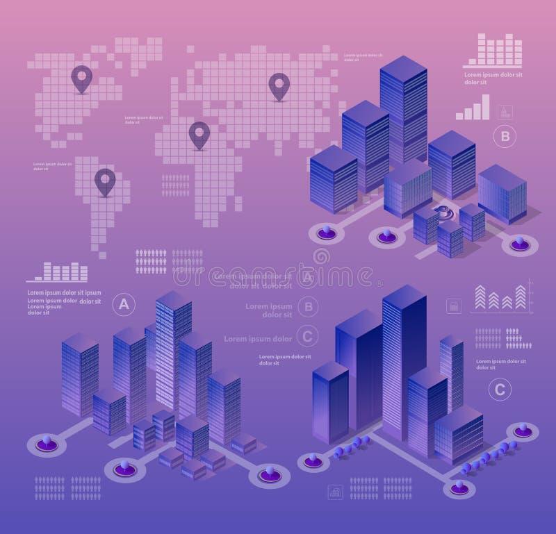 Isometric ultraviolet city vector illustration