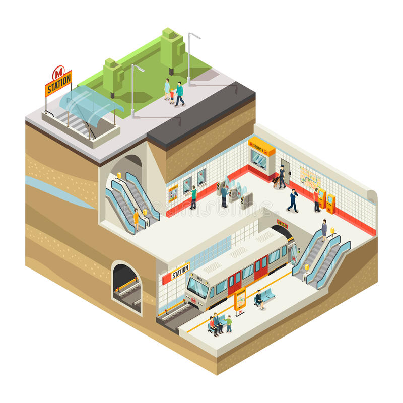 Isometric Underground Station Concept royalty free illustration