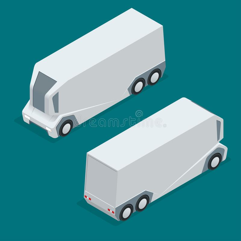 Isometric an unmanned truck on the remote control. Automatic delivery system concept. Self-driving van isolated for web vector illustration