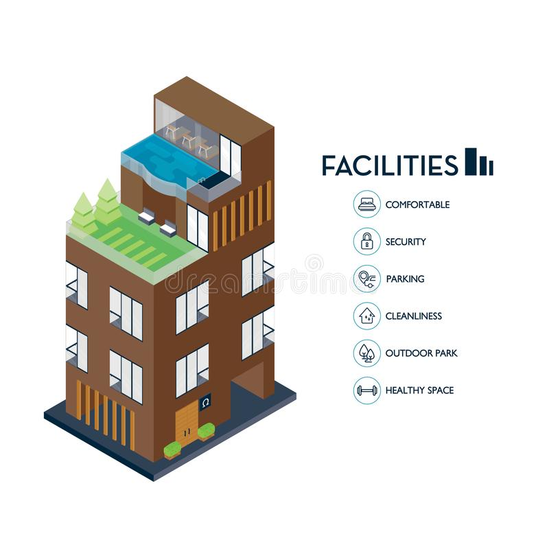 Isometric urban building. Icon facilities for condominium. Vector illustration royalty free illustration
