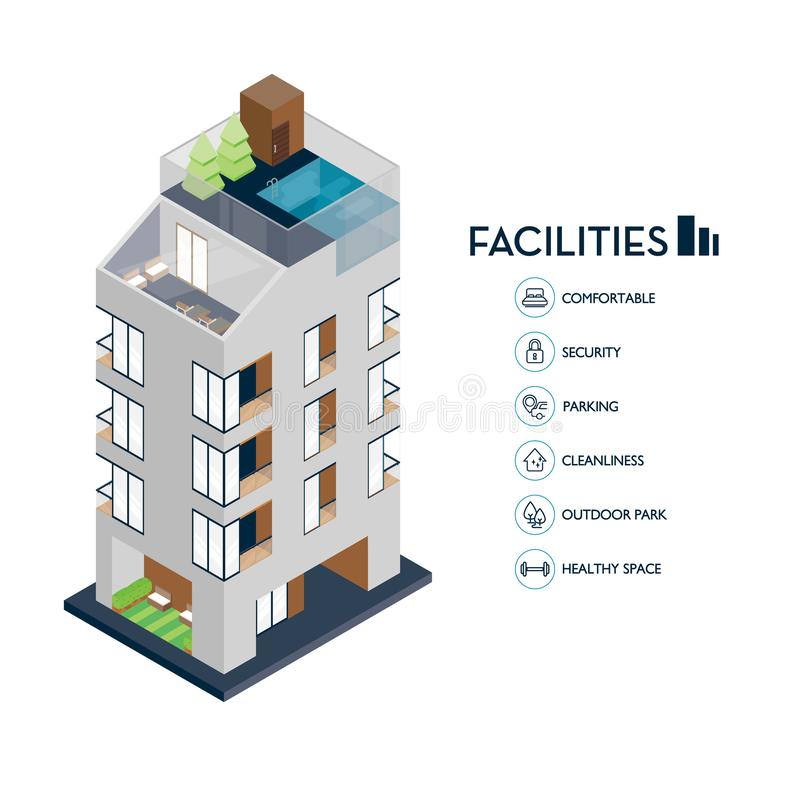 Isometric urban building. Icon facilities for condominium. Vector illustration vector illustration