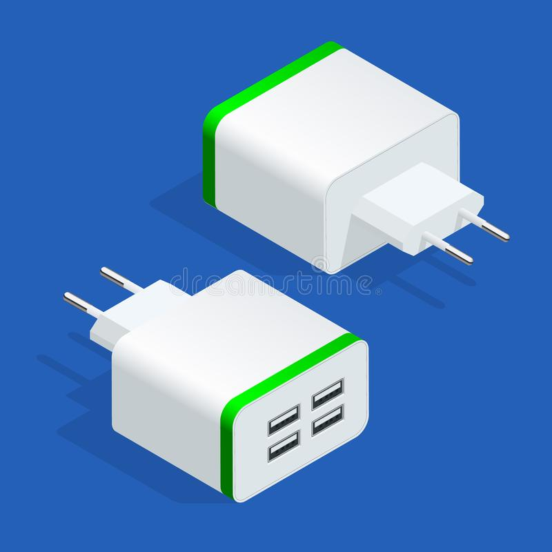 Isometric USB electric power socket AC outlet. Usb wall charger plug isolated. Vector illustration.  royalty free illustration