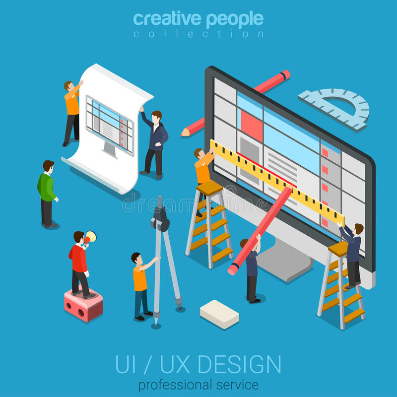 Isometric user interface design process concept. Flat 3d isometric desktop UI/UX design web infographic concept vector. Crane micro people creating interface on vector illustration