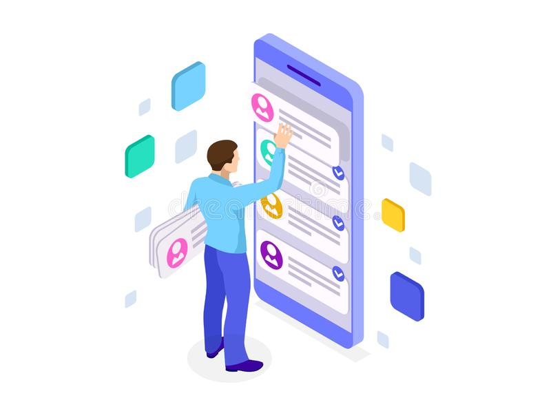 Isometric ux app development and holding smartphone. User experience. Website design and development. Isometric ux app development and holding smartphone. User vector illustration