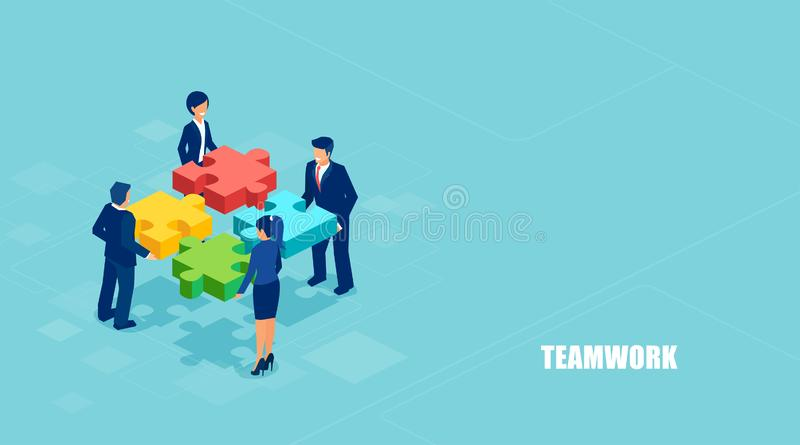 Isometric vector of business people solving a problem in team isolated on blue background. Teamwork concept banner. Isometric vector of business people solving a stock illustration
