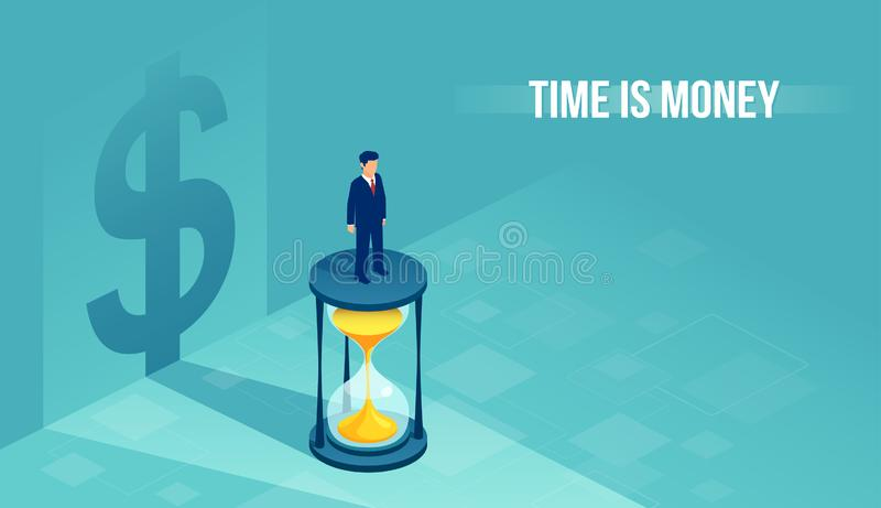 Isometric vector of a businessman standing on hourglass with shadow of a dollar sign on the background stock illustration