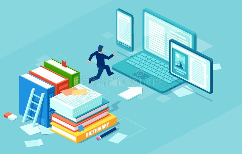 Isometric vector of a businessman switching to digital technology from paper royalty free illustration