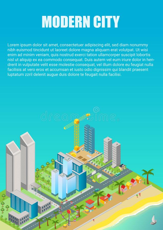 Isometric vector of city map with modern buildings and beach area with amusement park. Advertisment poster template. vector illustration