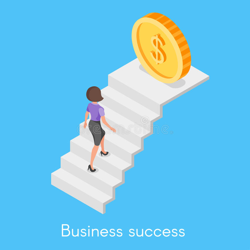 Isometric vector concept of business woman climbing the career l vector illustration