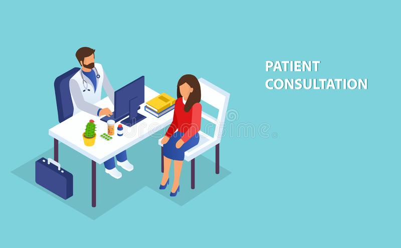 Isometric vector of a doctor consulting a female patient in clinic office stock illustration