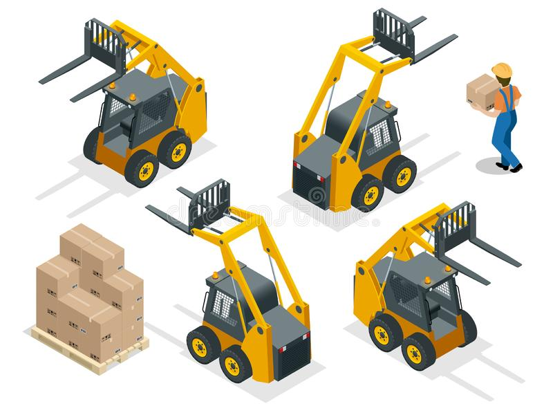 Isometric vector forklift truck isolated on white. Storage equipment icon set. Forklifts in various combinations vector illustration