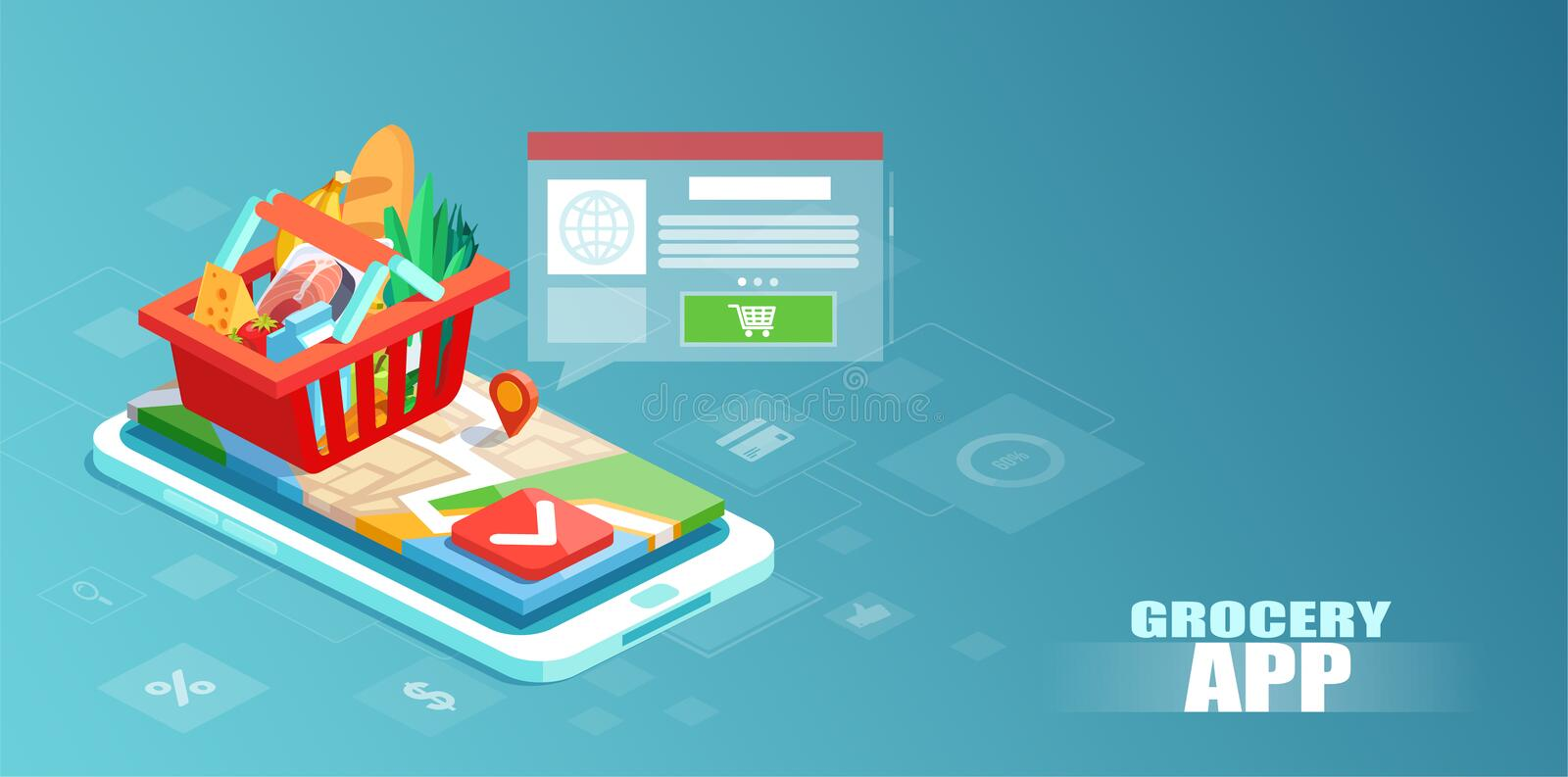 Isometric vector of a full basket with vegetables and food on a smartphone display stock illustration