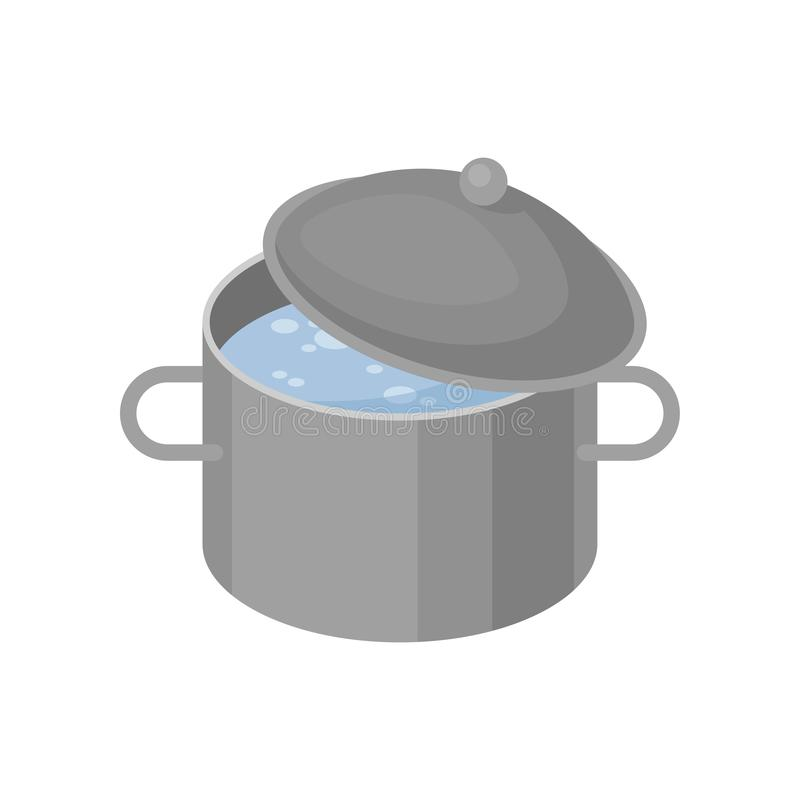 Isometric vector icon of gray metal pan with boiling water. Iron cooking pot with lid. Kitchenware theme. Isometric illustration of gray metal pan with boiling vector illustration