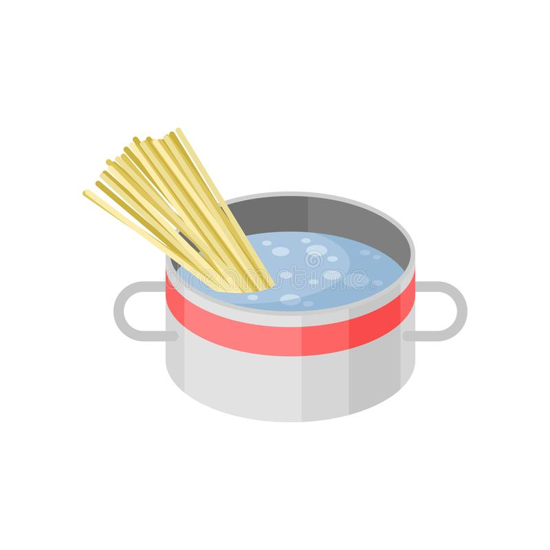 Isometric vector icon of metal saucepan with boiling water and pasta spaghetti. Cooking theme. Isometric illustration of metal saucepan with boiling water and vector illustration