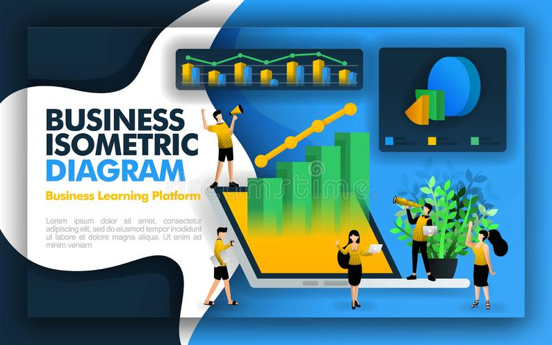 Isometric vector illustration for businesses and companies. available 3d laptops, diagram, bar charts, pie charts, worker characte vector illustration