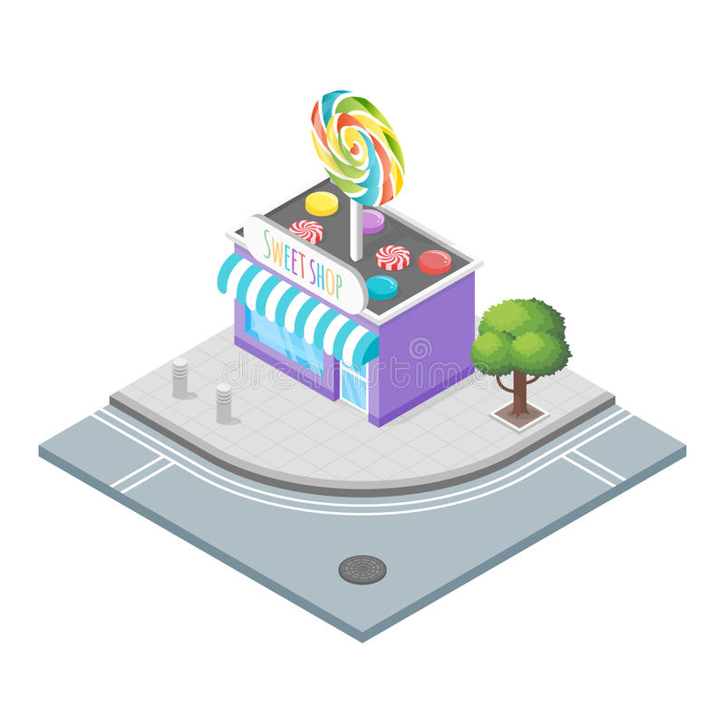 Isometric vector illustration of candy store. vector illustration