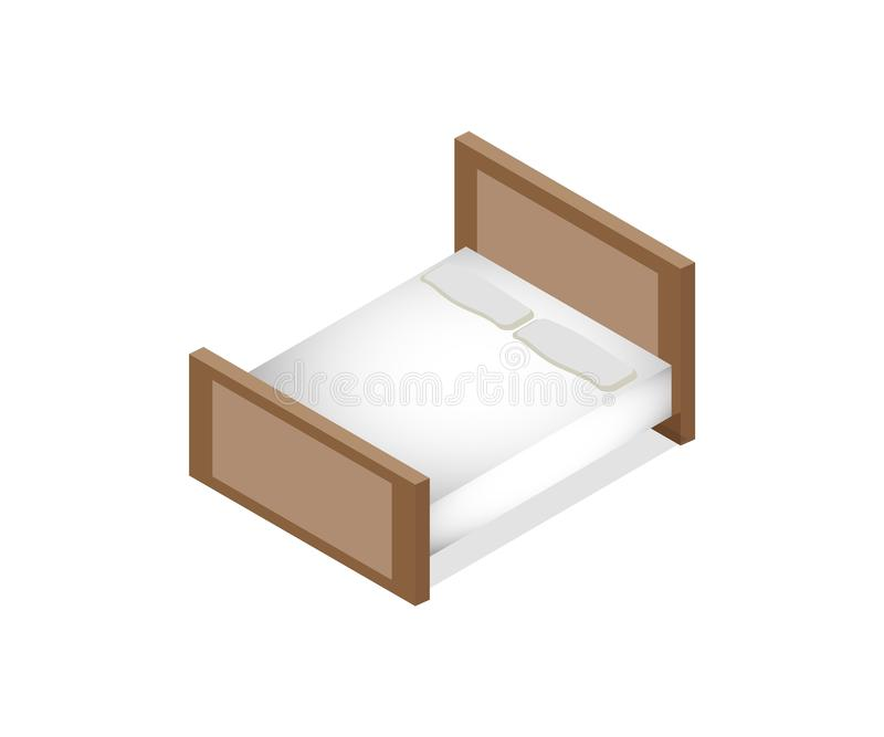 Isometric vector illustration double mattress one king size bed with mattress. Isometric vector illustration double mattress one king size brown bed with stock illustration