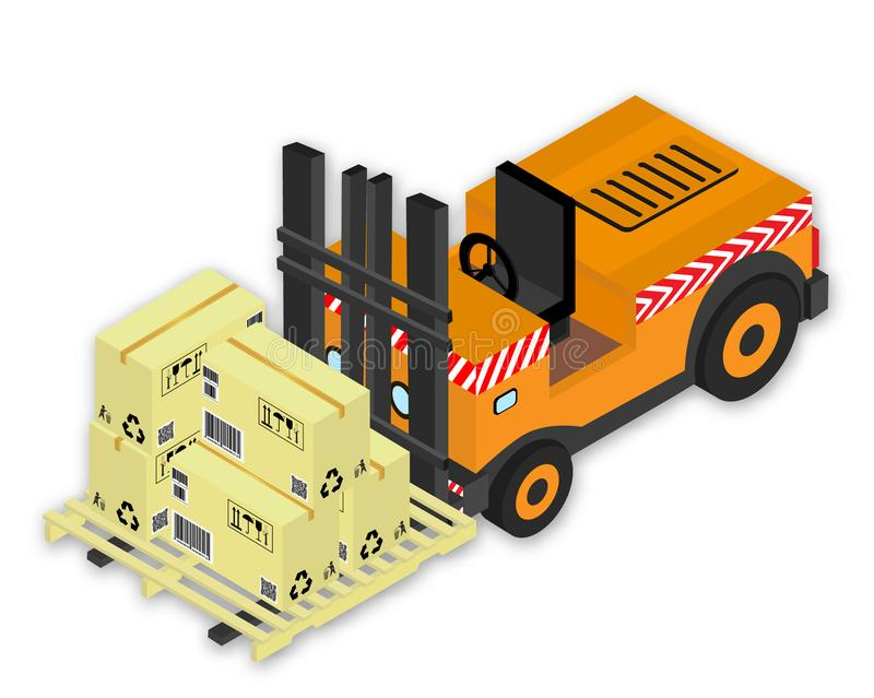 Vector drawing, forklift with set of a cardboards the boxes with marking and pallet stock illustration