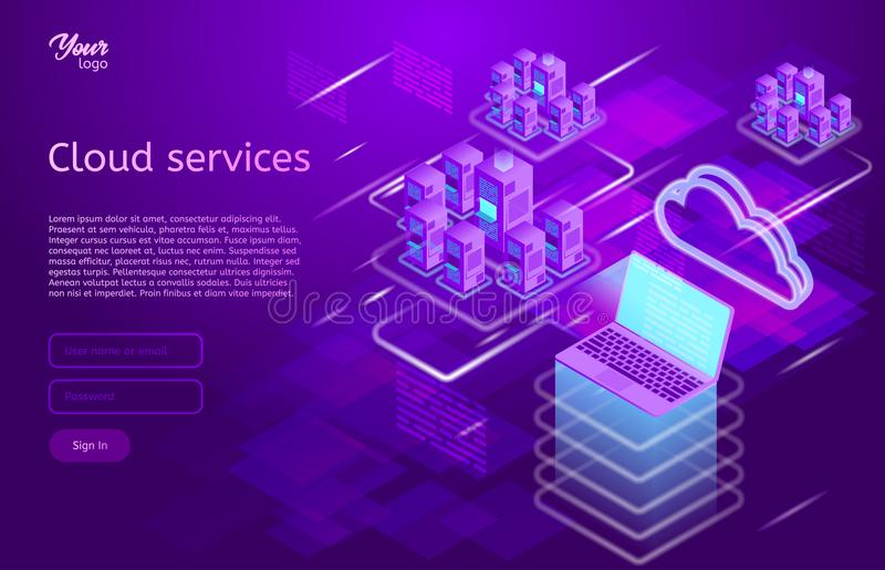 Isometric vector illustration showing the cloud computing services concept laptop and web servers. Cloud data storage. royalty free illustration