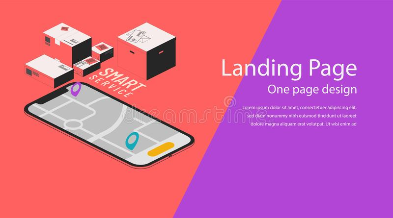 Isometric vector illustration of a smartphone and map. Smart service. Boxes and tags for app concept background. Website template vector illustration
