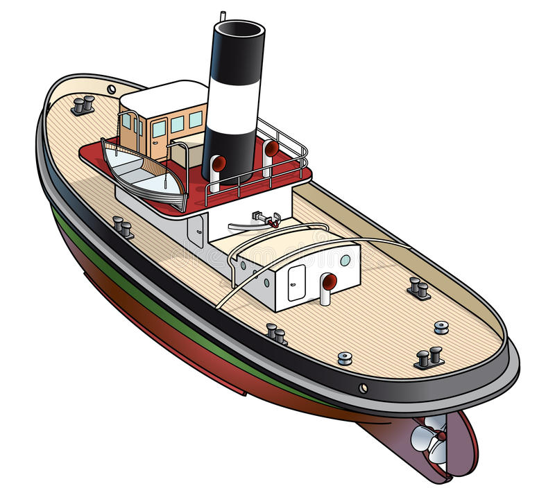 Isometric vector illustration of a tugboat. From Falmouth - 1930 stock illustration