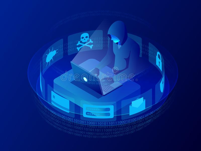 Isometric vector Internet hacker attack and personal data security concept. Computer security technology. E-mail spam stock illustration