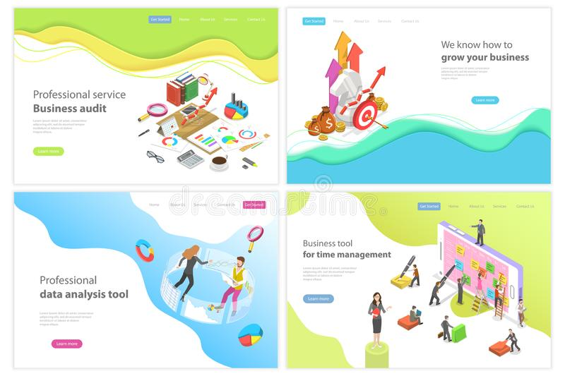 Isometric vector landing page for audit, data analysis, time management. stock illustration
