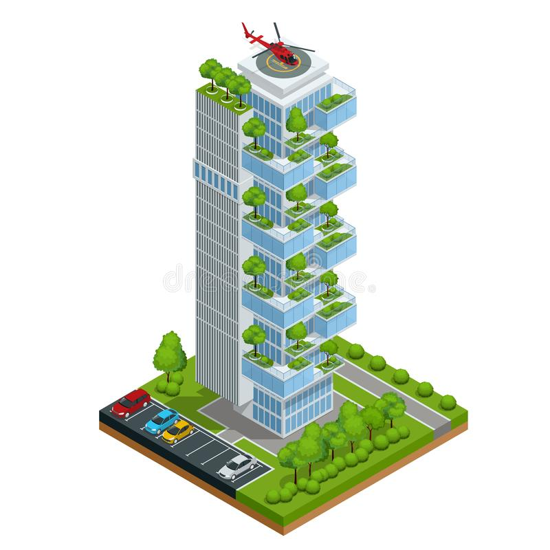 Isometric vector Modern ecologic skyscraper with many trees on every balcony. Ecology and green living in city, urban stock illustration