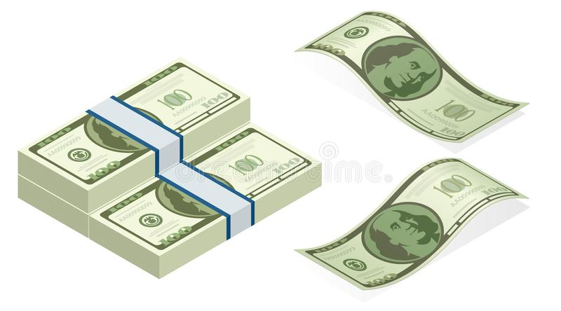 Isometric vector packages of banknotes. Hundreds of american dollars isolated stock illustration