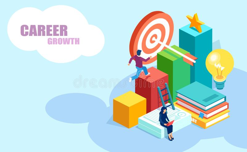 Isometric vector of people achieving goals, receiving online university degrees stock illustration