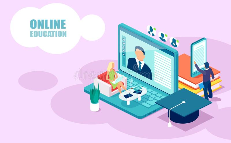 Isometric vector of people students learning receiving college degrees using modern technologies. Online education and courses concept. Isometric vector of vector illustration