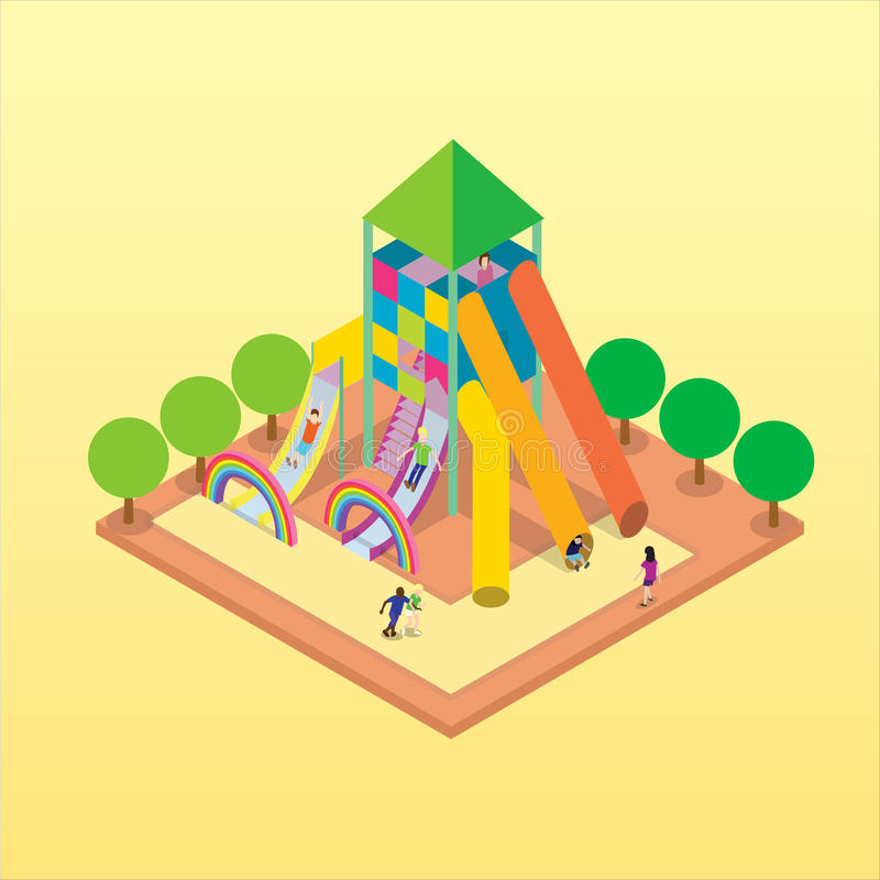 Isometric vector playground with kids playing stock photo