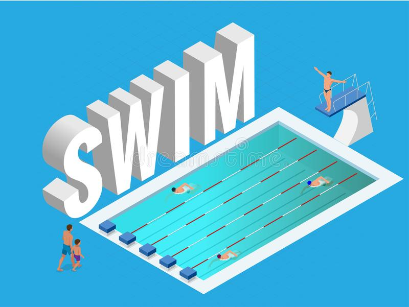 Isometric vector Public sports swimming pool open. Athletes swimmers training in blue water of pool.  royalty free illustration