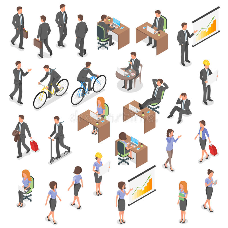 Isometric vector set of business people. stock illustration