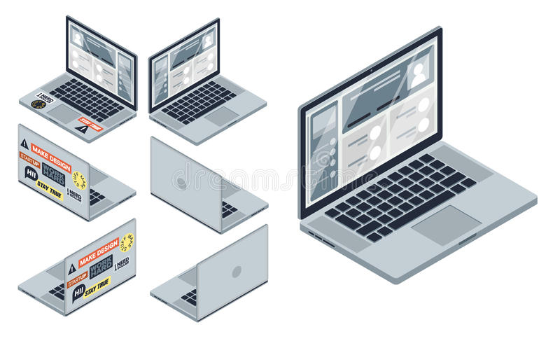 Isometric vector set of computer laptop. devices isolated on white background stock photo