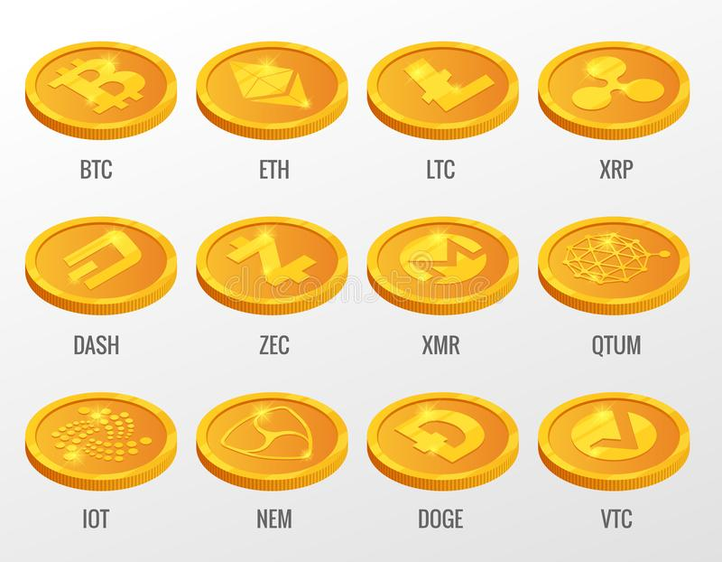 Isometric Vector set of Cryptocurrency gold coins with Bitcoin, ETH, LTC, XRP, DASH, ZEC, XMR, QTUM, IOT, NEN, DOGE, VTC. Digital virtual currency form of stock illustration