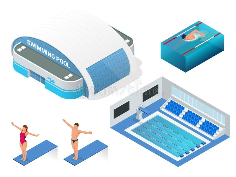 Isometric vector set of modern building swimming pool for water sports, swimming pool, swimmers elements icons. Health vector illustration