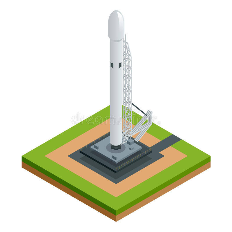 Isometric vector space rocket on white the two-stage-to-orbit rocket spaceship on starting platform royalty free illustration