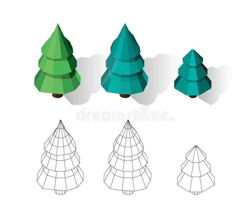 Isometric vector tree set. Landscape constructor kit. Different trees for make design. Low poly spruce, pine and firtree. Color and black and white wireframe vector illustration