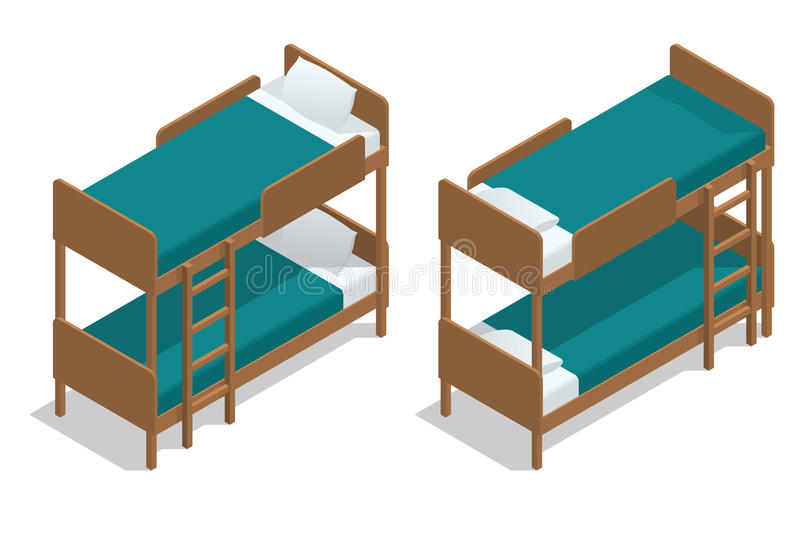 Isometric vector wooden two-storeyed bed separately on a white background. Living-room in a hostel with two bunk beds. Camp Cabin vector illustration