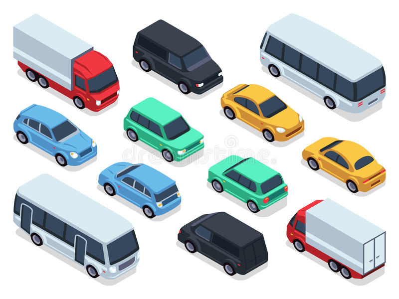 Isometric vehicles and cars for 3d city traffic map. Vector urban transport set stock illustration