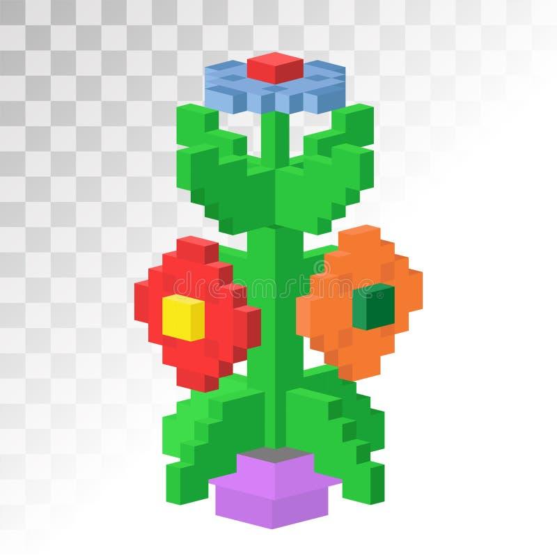Isometric vew kwiatu piksla sztuki wektoru niewywrotna ikona royalty ilustracja