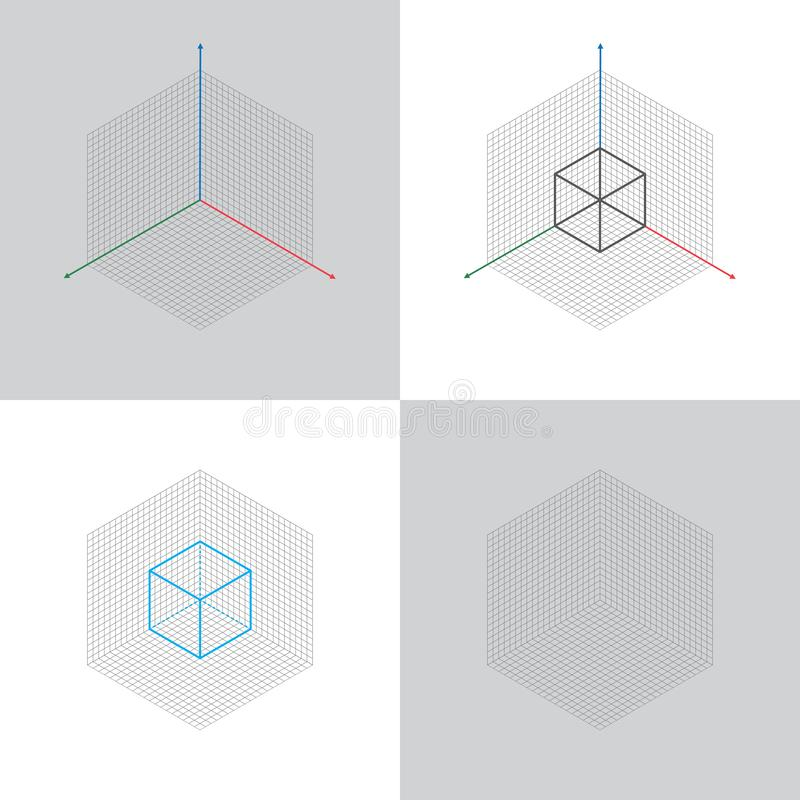 Isometric view, 3d coordinates axis stock illustration