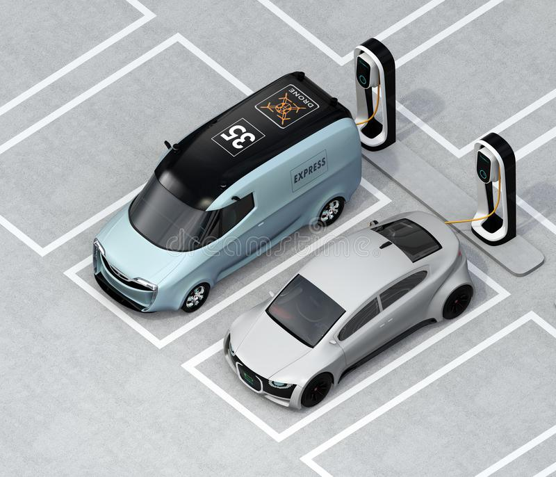 Isometric view of electric minivan and silver sedan charging at charging station. 3D rendering image royalty free illustration