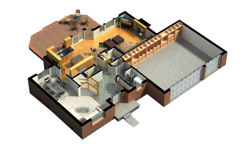 Isometric view of a furnished house vector illustration