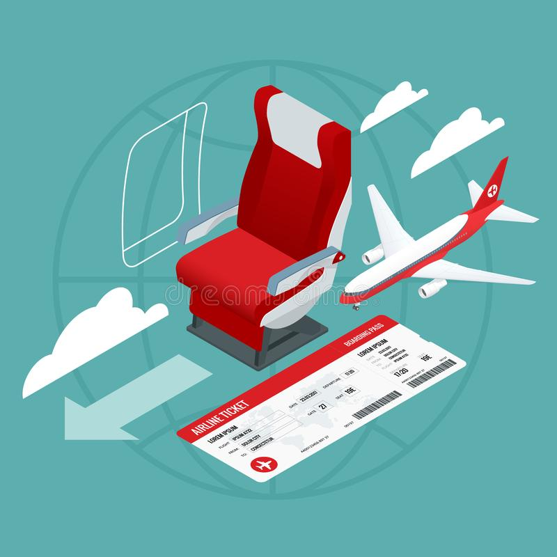 Isometric View of the Interior of an Airplane. Airplane passengers and crew. Airline travel, business trip, vacation. stock illustration