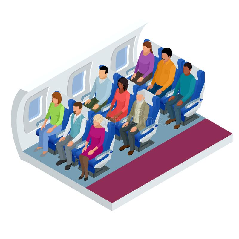 Isometric View of the Interior of an Airplane. Airplane passengers and crew. Various airplane passengers on the flight. vector illustration